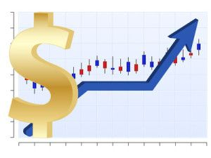 Vector finance graph with dollar symbol and up arrow
